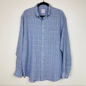 Brooks Brothers 346 Lght Blue 100% Linen Button Up